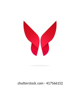 Butterfly colorful logo template with shadow on wings. Abstract red butterfly gradient shape. Beautiful creative vector butterfly logotype, icon design for business card, brand or identity.