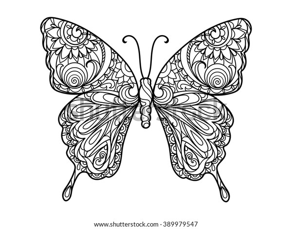 Butterfly Coloring Book Adults Vector Illustration Stock ...