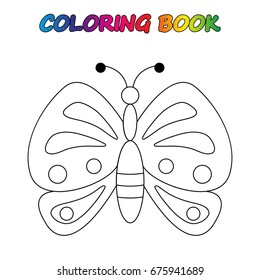 butterfly - coloring book. Game for kids.  Vector cartoon  illustration.