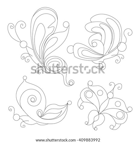 Butterfly Coloring Books Outline Stock Vector (Royalty Free ...