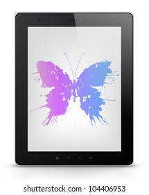 Butterfly Concept. Tablet PC Isolated on White Background. Vector EPS 10.