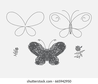 Butterfly consists of lines. Hipster style design set. Black and white linear hand drawn art for card, posters, fabric print. Vector illustration
