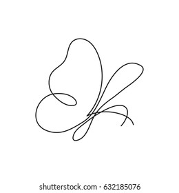 Butterfly continuous line drawing element isolated on white background for logo or decorative element. Vector illustration of insect form in trendy outline style.