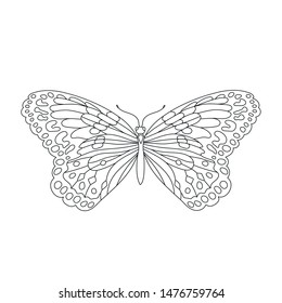 butterfly in contour in black lines for tattoo outline, contour