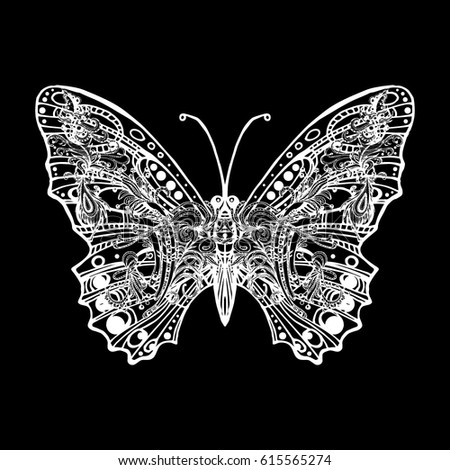 61094aed252ba Print for T-shirts, mugs, cover. The stylized image of an insect. Tattoo in  the form of a beautiful butterfly. Vector illustration. Sticker. - Vector