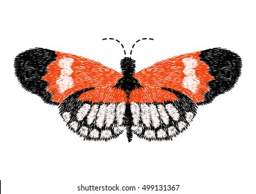 butterfly design for clothing. embroidery insect vector. isolated