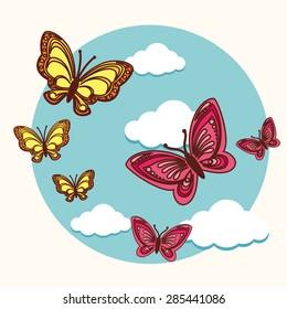 Butterfly design over white background, vector illustration.