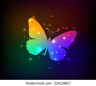 Butterfly design,rainbow vector