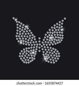 Butterfly of diamonds. Diamond butterfly background, vector illustration