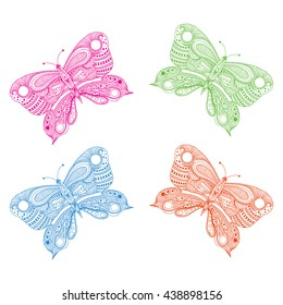 Butterfly doodle background.