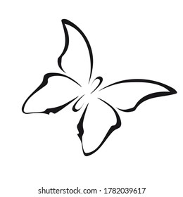Butterfly in doodle style isolated on white background. Signature Icon. Vector outline illustration. Can be used as an icon or symbol. Decor element. Hand drawn black sketch.