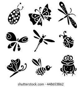 Butterfly, dragonfly, bee, ladybug, frog. Hand drawn black silhouette isolated on white background set