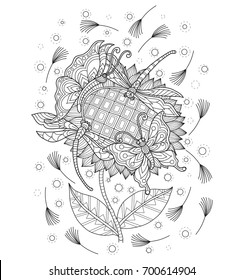 butterfly and dragonfly playing on sunflower. Zentangle stylized cartoon isolated on white background.