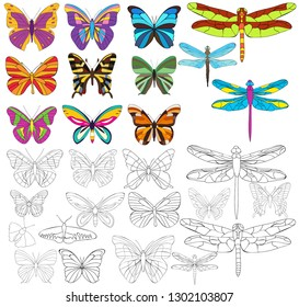 butterfly and dragonfly set