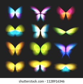 Butterfly Duotone isolated logos set. Bright colorfull butterflies wings, dynamic movement, blurred effect icons set. Abstract vector logotypes on black background