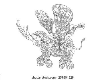 Butterfly Elephant flying in zentangle style