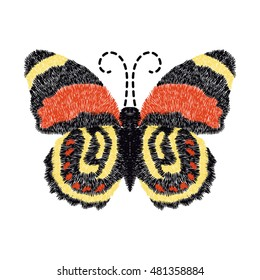 butterfly embroidery design for clothing. isolated insect vector decoration