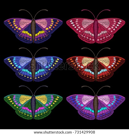 Butterfly Embroidery Set Colorful Butterflies On Stock Vector