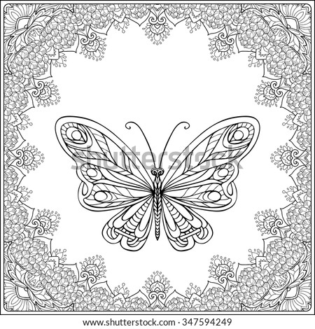 j coloring pages for older kids | Butterfly Fecorative Frame Coloring Book Adult Stock ...