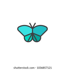 Butterfly filled outline icon, line vector sign, linear colorful pictogram isolated on white. Symbol, logo illustration.