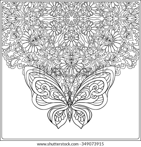 Butterfly Floral Mandala Coloring Book Adult Stock Vector Royalty