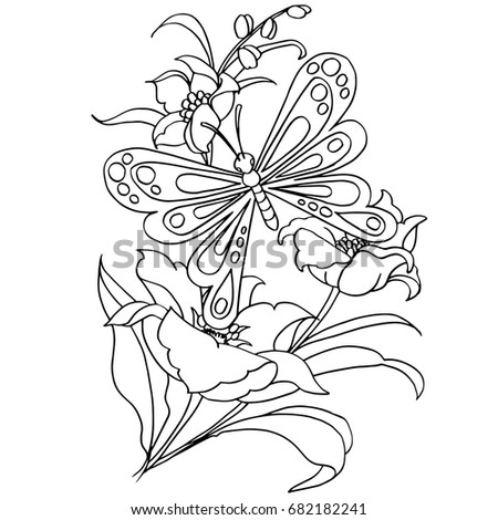 Butterfly Flower Cartoon Coloring Page Vector Stock Vector Royalty