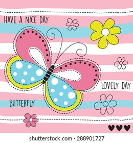 butterfly and flowers vector illustration