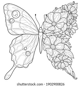 Butterfly and flowers.Coloring book antistress for children and adults. Illustration isolated on white background.Zen-tangle style. Black and white drawing - Shutterstock ID 1902900826