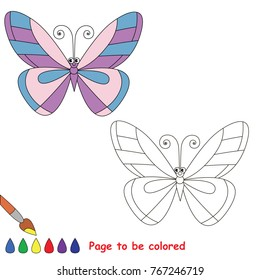Butterfly funny to be colored, the coloring book for preschool kids with easy educational gaming level.