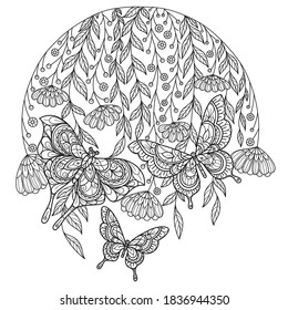 Butterfly in the garden. Zentangle stylized cartoon isolated on white background.  Hand drawn sketch illustration for adult coloring book.