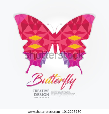 Butterfly Geometric Paper Craft Style Vector Stock Vector Royalty