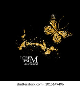 Butterfly of gold glitter. Vector
