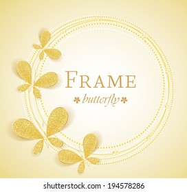 Butterfly gold jewelry frame with space for text