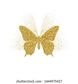 Butterfly golden glitter icon with glitter glow. Beautiful summer golden silhouette on white. For wedding, fashion, ornaments, tattoo, luxury decorative design elements Vector illustration