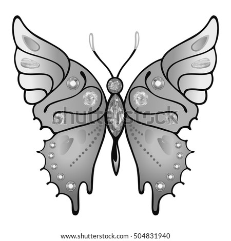 Butterfly Grey Colored Gem Rhinestones Isolated Stock Vector