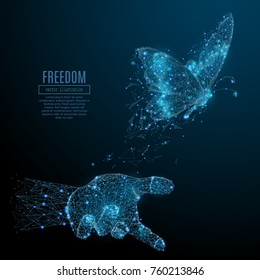 butterfly in hand palm low poly wireframe. Vector freedom polygonal image in the form of a starry sky or space, consisting of points, lines, and shapes in the form of stars with destruct shapes