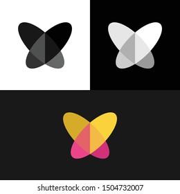 Butterfly Heart Love Overlap Logo