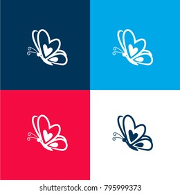 Butterfly with a heart on frontal wing on side view four color material and minimal icon logo set in red and blue