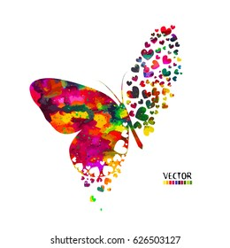 Butterfly from hearts. Vector
