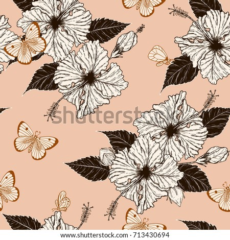 Butterfly Hibiscus Flower Pattern By Hand Stock Vector Royalty Free