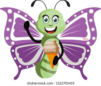 Butterfly with ice cream, illustration, vector on white background.