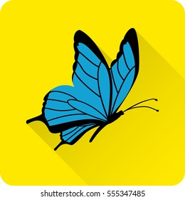 Butterfly icon in flat style with long shadow on yellow background. Vector illustration.