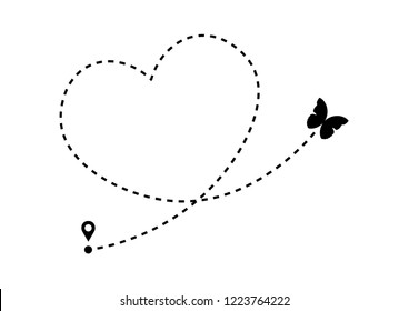 Butterfly icon with heart shaped dotted path line