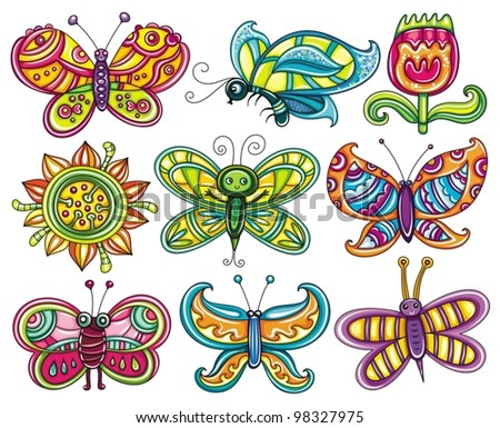 Butterfly Icon Set Beautiful Cartoon Colorful Stock Vector Royalty
