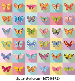 Butterfly icons set. Flat set of butterfly vector icons for web design