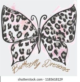 Butterfly illustration with animal print