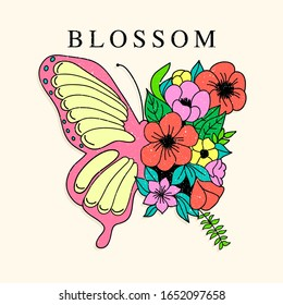 BUTTERFLY ILLUSTRATION WITH FLOWERS, SLOGAN PRINT VECTOR