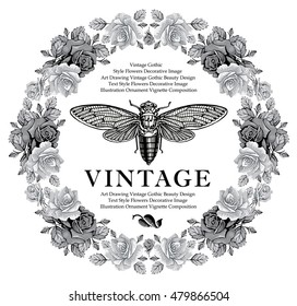 Butterfly insect cicada fly animals. Flowers roses isolated. Beautiful vintage floral frame. Greeting card. Border. Drawing engraving realistic. Wallpaper baroque. Vector victorian style illustration.