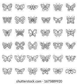 Butterfly insect icons set. Outline set of butterfly insect vector icons for web design isolated on white background
