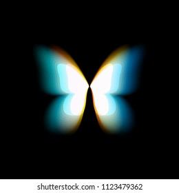 Butterfly isolated logo. Bright colorfull butterflies wings, dynamic movement, blurred effect. Abstract vector logotype on black background.